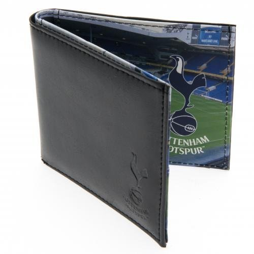 Tottenham Hotspur FC Leather Wallet Panoramic 801 leather wallet embossed crest panoramic stadium picture inside multiple card slots approx 11cm x 9cm in a gift box Official Football Merchandise