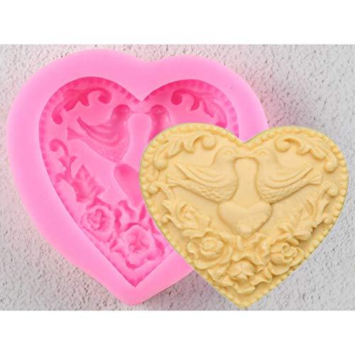 LKJHG Molde de Silicona Fondant Bird en Forma de corazón para Hornear en la Cocina Pasteles de Chocolate Candy Clay Making Lace Decoration Tools