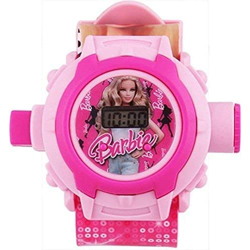Gaanu Digital Pink Light Barbie Kids Watch (24 Different Images Projector)
