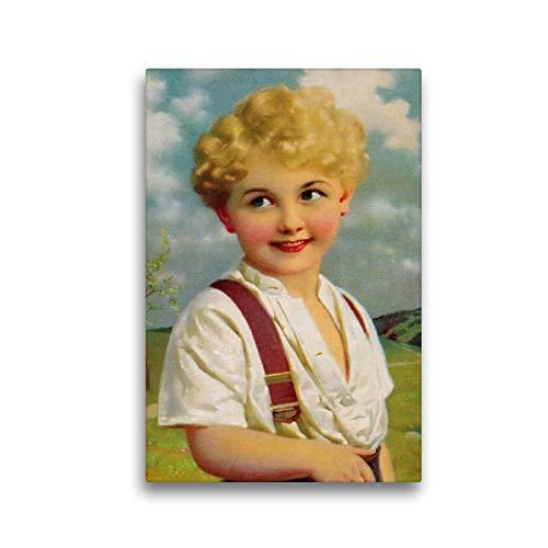 Premium Textil-Leinwand 30 x 45 cm Hoch-Format Blonder Junge   Wandbild, HD-Bild auf Keilrahmen, Fertigbild auf hochwertigem Vlies, Leinwanddruck von Pferdografen - Martina Berg + Antje Lindert-Rottke