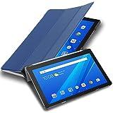 Cadorabo Funda Tableta para Lenovo Tab M10 (10.1' Zoll) in Azul Oscuro Jersey – Cubierta Proteccíon Bien Fina en Cuero Artificial en Estilo Libro SIN Auto Wake Up e Función de Suporte