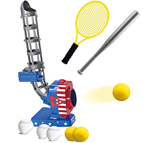JOYIN 2 in 1 Baseball and Tennis Baseball Pitching Machine Automatic Pitcher Play Set Tennis Baseball Training for Kids Outdoor Play