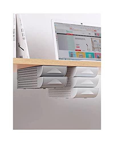 mygzq Organizador de cajones de Oficina apilable Oculto bajo Escritorio bolígrafo para el hogar Oficina de papelería Caja de Espacio Ahorro (Color : Grey Single Layer)