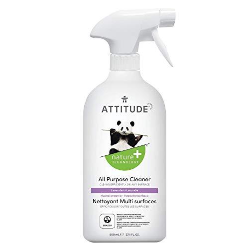 ATTITUDE Multipurpose Spray Cleaner, Efficient Multi-Surface Plant & Mineral-based Formula, Vegan and Cruelty-Free, Lavender, 27.1 Fl Oz