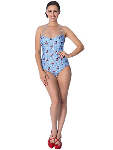 Dancing Days by Banned Badeanzug Cherry Love Halter Swimsuit 1699 Blau S