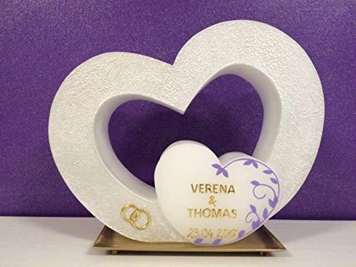 Hochzeitkerze Hochzeitskerze doppeltes Herz - inkl. Beschriftung von Babyprince - handgearbeitete Wachsverzierungen - !!! keine Folie !!!