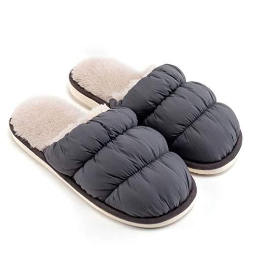 YQ Hombres Pareja otoño y del Invierno Cubierta de la Nube Inicio Zapatillas, Estudiante de Dormitorio Muebles Felpa cálido algodón Zapatillas (Color : Dark Gray, Size : 43-44)