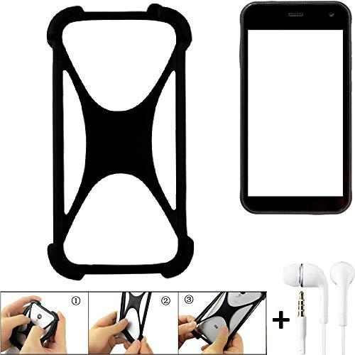 K-S-Trade® Handyhülle Für Cyrus CS 22 Schutzhülle Bumper Silikon Schutz Hülle Cover Case Silikoncase Silikonbumper TPU Softcase Smartphone, Schwarz (1x), Headphones