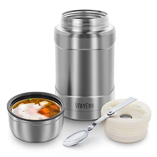 WayEee Thermobehälter 710ml Speisegefäß Edelstahl Isolierbehälter mit Löffel Speisebehälter Thermo Lunchbox für warme Speißen Essen Babynahrung Suppe EIS (Silber)
