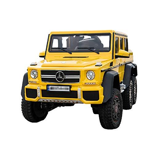 QqHAO Kinderelektrofahrzeug Allradallradantrieb Geländewagen mit Fernbedienung Kind kann Ride A Person Spielzeug-Auto,Gelb,6 Drive