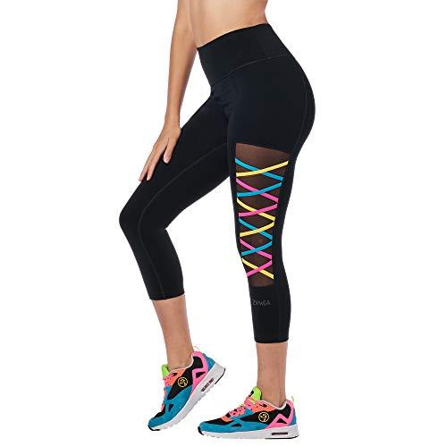 Zumba Workout High Waist Leggings Stilvoll Fitness Gym Kompression Sporthose Damen, Bold Black D, M