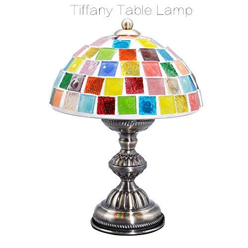 Tafellamp turquoise vintage kristal bont decoratieve lamp woonkamer slaapkamer Tiffany mozaïek handgemaakte lamp