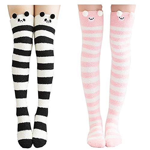 Keylleen Over Knee Thigh High Stockings Girls Warm Cozy Slipper Socks 2 Pairs (Stripes)