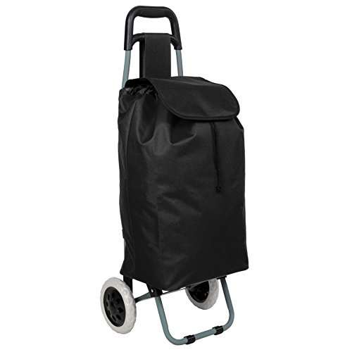 TecTake 800095 Folding Wheeled Lightweight Shopping Trolley with Zipped Pocket - Different Colours - (Black | No. 401270)