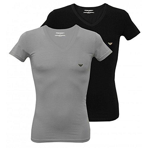 Emporio Armani T-shirts voor heren, V-hals, stretch katoen, korte mouwen, pak van 4