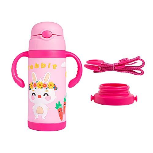 Garrafa de vácuo infantil BESTONZON 1 pç/copo isolante/garrafa térmica com canudo, à prova de vazamento, duplo, reutilizável, adequado para meninas (380 ml)