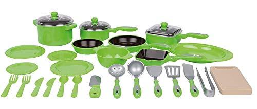 Haberkorn 28 TLG Kochtopf Set für Spielküche Töpfe Pfannen Bräter viel Zubehör grün