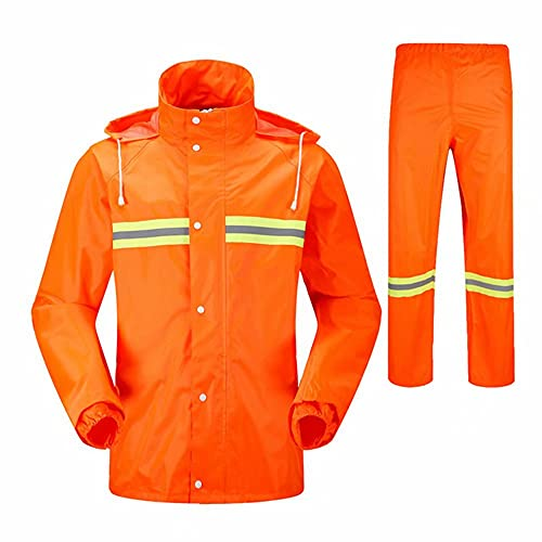 CUIJU Traje de Lluvia para Hombres Chubasquero Reflectante Chaquetas y Pantalones Impermeables Chaqueta de Lluvia para Ciclismo al Aire Libre Ropa de Trabajo,Verde,3XL