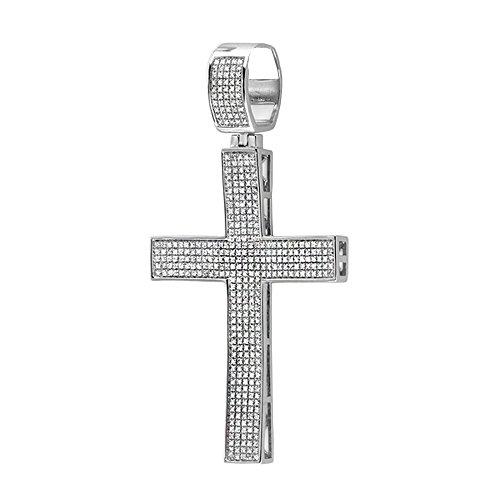 DazzlingRock Collection 2,00 quilates (CTW) plata de ley de micro diamantes blancos allanan hombre hip hop estilo collar pendiente cruzada religiosa, cadena libre