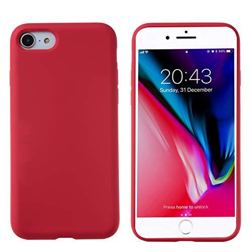 THBY Funda iPhone Se 2020,Slim Líquido de Silicona Gel Carcasa Anti-Rasguño y Resistente Huellas Dactilares Totalmente Protectora Caso Case para Apple iPhone Se 2020.(4.7 Inch,Rojo)