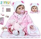 ZIYIU 22 Zoll 55 cm Reborn Puppe Lebensecht Puppen Weich Silikon Vinyl Puppen Augen Offen Spielzeug...