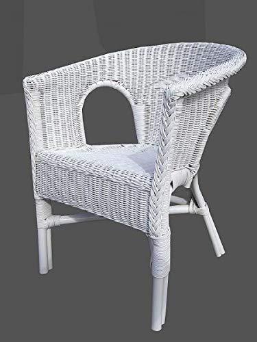 Rattan-Sessel Weiß Esszimmersessel Korb-Sessel Rattanmöbel Rattansessel Rattanstuhl mit Armlehnen Lounge Flechtsessel