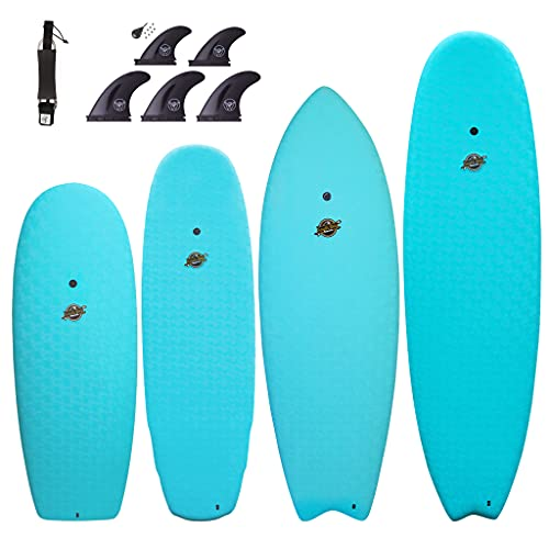 South Bay Board Co. - 4'10/5'5/6' / 6'8 Hybrid Surfboards - Wax-Free Soft-Top Surfboard + Hard Epoxy Bottom Deck - Patented Heat Damage Prevention System - Future Fins & Leash Included