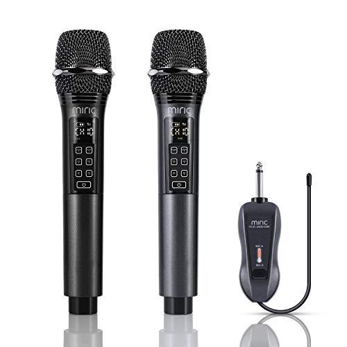 Miric Micrófono Inalámbrico Profesional Recargable, Microfono Karaoke Dinámico Dual con Control de Volumen y 10 Opciones de Canales UHF, para KTV, Fiesta Lugares de Entretenimiento