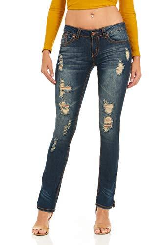 cover girl Women's Tall Plus Size Distressed Boot-Cut Straight Leg, Dark Blue, PLUS 14