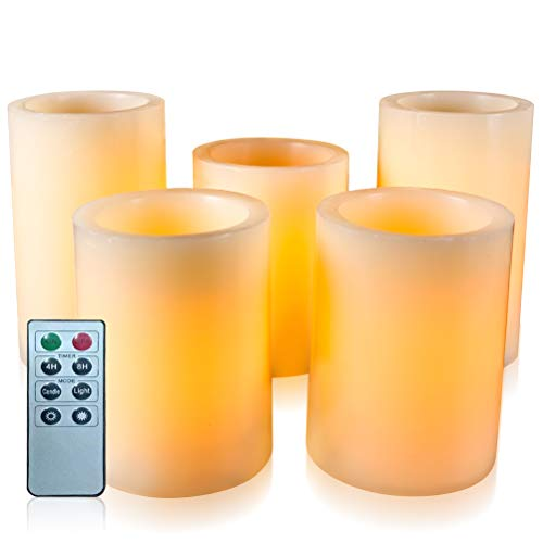 Flameless Flickering LED Candles with 10-Key Remote Control Timer Classic Pillar Optical Fiber Wick Real Wax Battery Operated Candles, Ivory Color, Set of 5