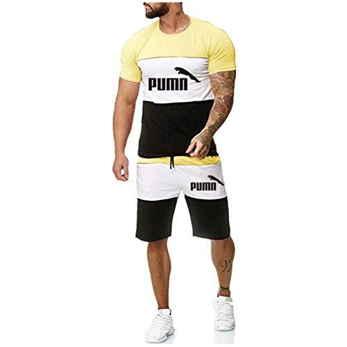 DREAMING-Camiseta superior de manga corta estampada para hombre de verano + Pantalones cortos Traje deportivo Traje de contraste de color de ocio al aire libre S