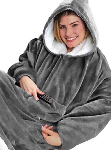 UMIPUBO Oversized Hoodie Sweatshirt Blanket TV Decke Kombination aus Flausch-Pullover und Kuscheldecke mit Großer Fronttasche für Männer Frauen