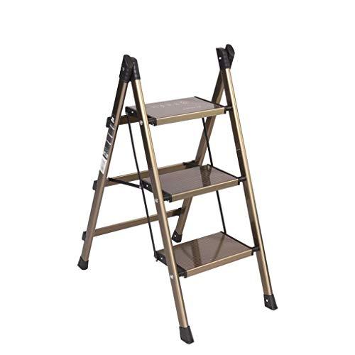 LJ Leiter, Hocker, Arbeitssicherheitsleiter, klappbare 3-Leiter-Leiter mit bequemem Griff Rutschfestes stabiles und breites Pedal, tragbare Stahlbank