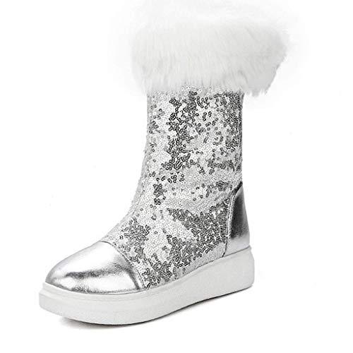 Luancrop Women 's Classic Schneeschuhe Glitter Warm Flaches Fell Gefüttert Slip On Mid-Calf Wedge Winterstiefel