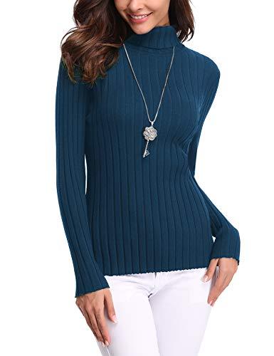 Aibrou Damen Elegant Pullover Strickwaren Rollkragenpullover Hals Langarm Ribbed Strick Pullover Tops, Blau, M