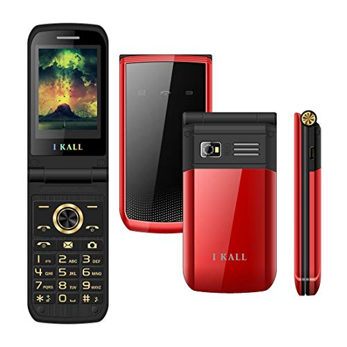 IKall K60 Multimedia Flip Mobile (2.4 Inch Display, Dual Sim, 1500 mAh Battery, 0.3MP Camera, Call Recording) (Black)