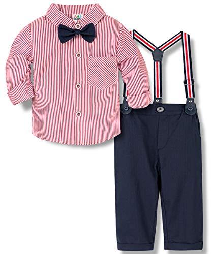 A&J DESIGN Conjuntos para Bebé Niños Camisa y Pantalones Tirantes con Pajarita 3 Piezas, Tamaño: 0-4 Años