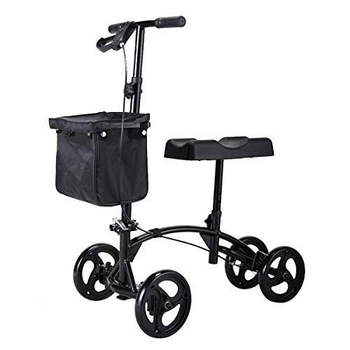 Sandinrayli Knee Scooter Walker Steerable Scooter Crutches Alternative for Disabled Knee Injured Foot