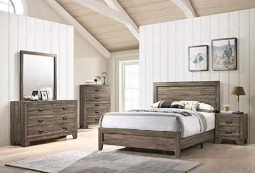 Esofastore Traditional Grey Color Panel Bed Dresser Mirror Nightstand Set...