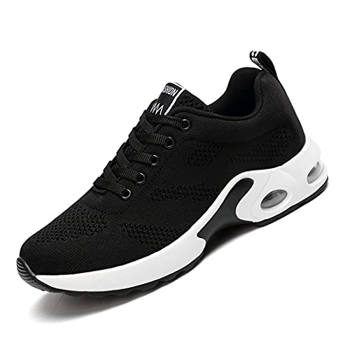 [Regibelie] レディース 厚底スニーカー レースアップシューズ ウォーキングシューズ ランニングシューズ 軽量 作業靴 歩きやすい 疲れない 厚底シューズ 黒い ブラック 24.0cm