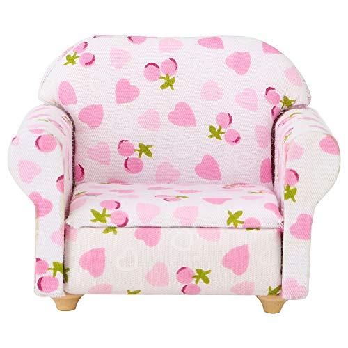 Tnfeeon 1:12 Puppenhaus Miniatur Möbel Sofa Mini Schatz Erdbeermuster Einzelsofa Couch Sessel Einzelsofa Puppenhaus Zubehör