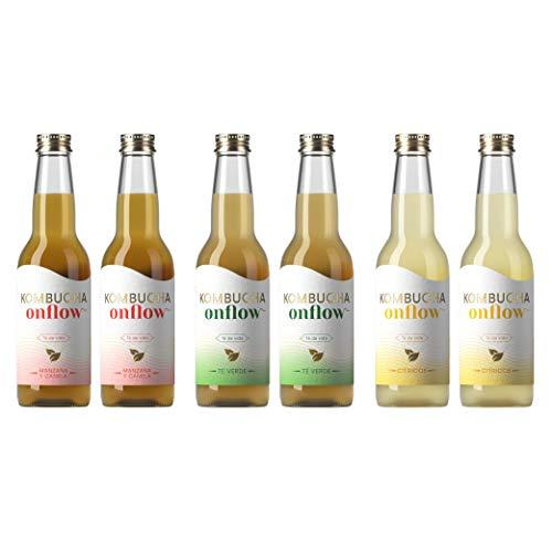 Te Kombucha bebida energetica kombucha scoby probióticos intestinales sin azucar añadido ecológico fermentado / botellas de kombucha Onflow (Pack Bienvenida Variado, PACK DE 6 BOTELLAS)