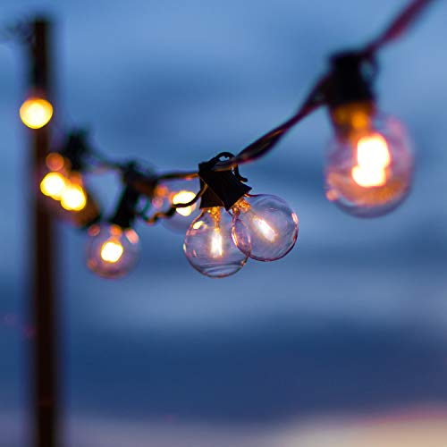 2 Pack Globe String Lights with 120 Edison G40 Bulbs (20 Spare), 112 Ft Hanging Outdoor String Lights Connectable Waterproof for Indoor Bedroom Patio Garden Porch Wedding Party Christmas, Black Wire