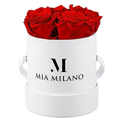 Mia Milano ® Scatola di rose con 4 rose Infinity   Fioriera (confezione regalo di matrimonio) fiori conservati 3 anni durevoli (Bianco- Rosso)