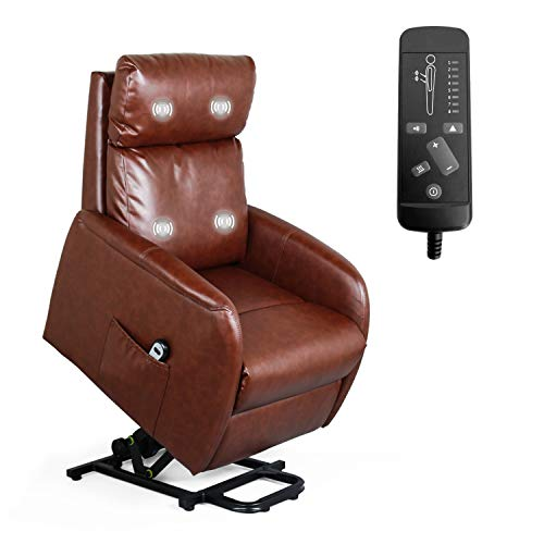 Recliner Chair for Living Room Power Lift Massage Recliner Chair for Elderly Modern Recliner Sofa Home Theater Seati Office Massage Recliner Sofa Leisure Lounge with Side Pocket PU Leather (Red-Brown)