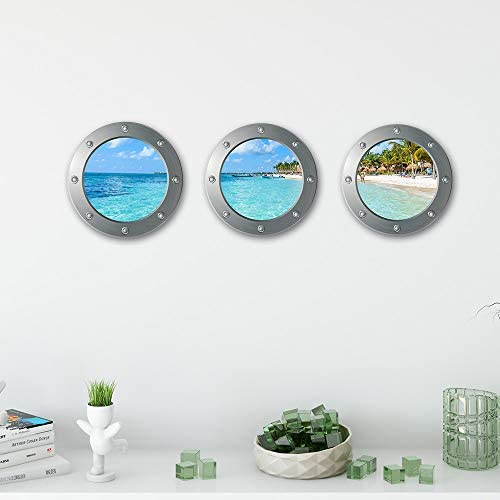 3D Faux Wall Sticker Beach Seascape Wall Decal Sticker Removable Beach Palm Trees Landscape product image