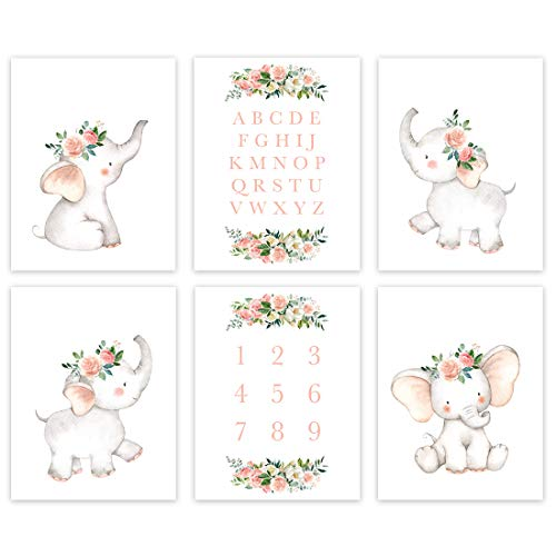 Andaz Press Girl Floral Elephant Pink Peach Theme Nursery Kids Bedroom Hanging Wall Art Decor, 8.5x11-inch, Alphabet, Numbers, 6-Pack, Unframed Room Poster