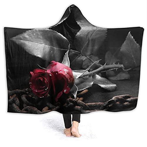 Manta con capucha, diseño de rosas negras góticas con capucha, manta de forro polar, súper suave, cálida, 156 x 150 cm