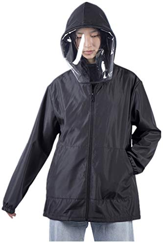 Unisex Waterproof Hoodie Dust-Proof Coat Anti-Spitting Sweater Anti-Fog Removable Face Visor Anti-Saliva Jackets Black S