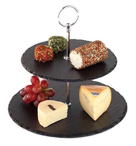 APS Etagere 2-stufig – Hochwertige Etagere aus rostfreiem Edelstahl und 2 runden Platten aus echtem Naturschiefer – mit Anti-Rutsch-Füßchen für den festen Stand, Käsepräsenter